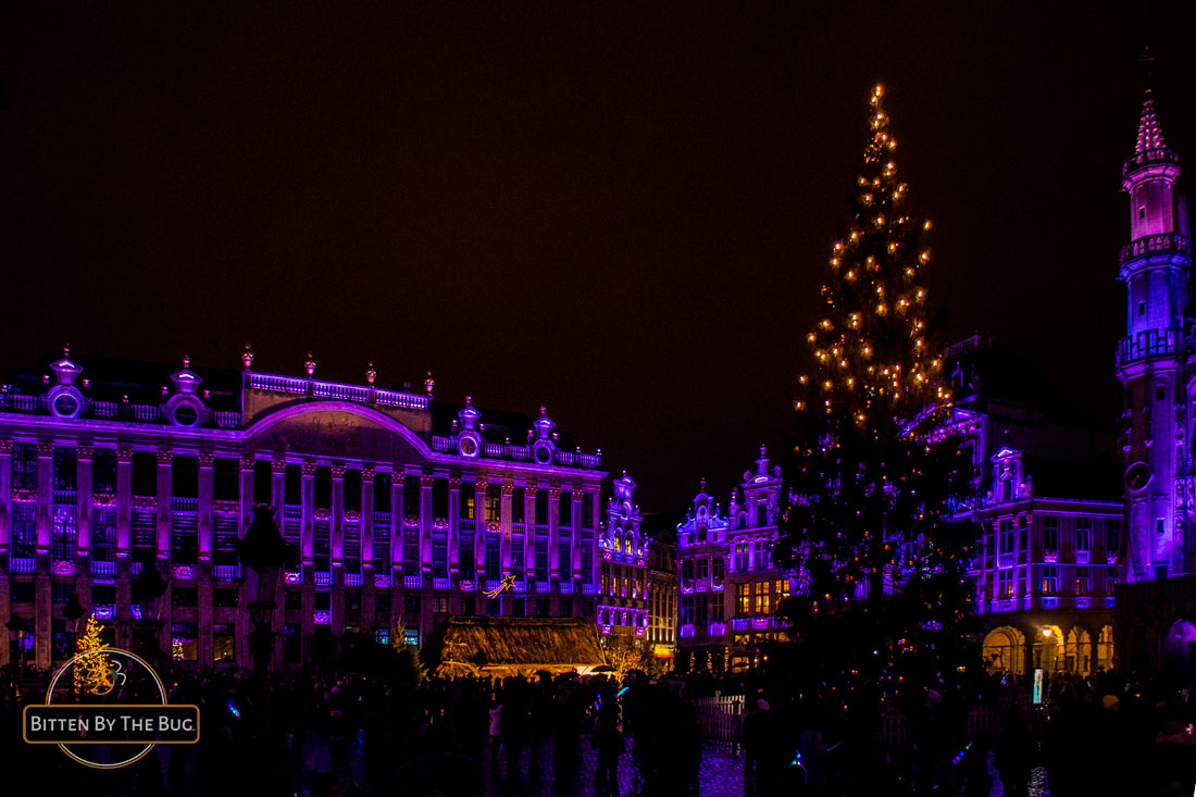 Light show - Brussels Christmas market