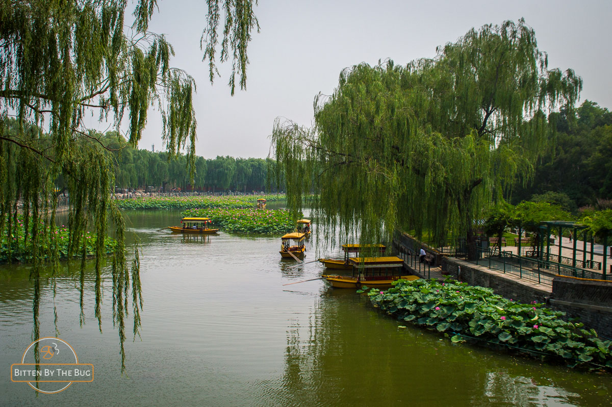 Litle boats on the lake in Beihai Park